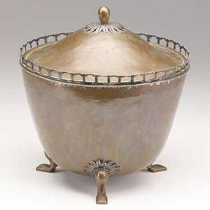 Burrows ice bucket hammered copper silver and tin liner stamped burrows 9 34 x 9