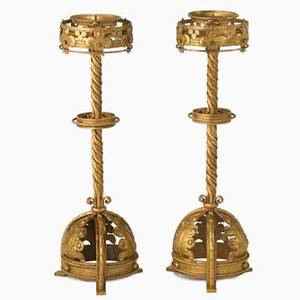 Gothic pair of tall parcelgilt wroughtiron candlesticks unmarked 27 12 x 9 12