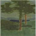 Grueby tile the pines paper label and artist initials 6 sq