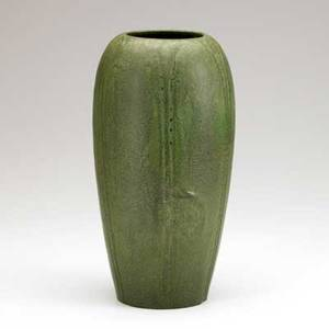 Wilhelmina post grueby tall vase two rows of leaves matte green glaze incised wp circular pottery stamp 11 12 x 5 34