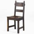 Gustav stickley early rabbitear dining chair early red decal 38 x 18 34 x 15