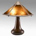 Dirk van erp table lamp with riveted base hammered copper and mica single line box windmill mark 19 x 18