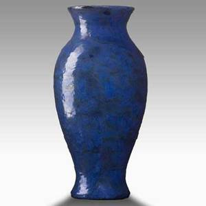 Fulper baluster vase in frothy blue and green glaze incised racetrack mark 13 34 x 6