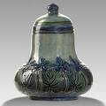 Mary sheerer newcomb college rare covered jar carved with african violets 1906 ncjmmsbk62q 4 14 x 3