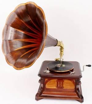French Path Mahogany Wood Gramophone