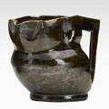 George ohr lobed pitcher green and gun metal glaze signed geohr biloxi miss 3 12 x 5 x 3 14