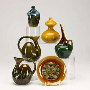Christopher dresser linthrope six pieces in majolica glazes five vases and one plate all marked tallest 10 x 5