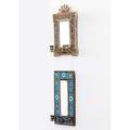 Aesthetic movement mirrors two wall hanging mirrors of bronze or brass one with longwy tiles unmarked largest 16 14 x 9