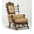 George hunzinger parlor armchair ca 1869 walnut damask upholstery stamped