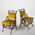 George hunzinger pair of parlor chairs ca 1869 walnut upholstery all stamped 33 x 18 x 22