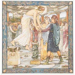 Preraphaelite art works thomas matthew rooke 18421942 venus watercolor and ink framed 7 14 x 7 14 sight edwin austin abbey 18521911stray thoughts 1897 pen and ink illustration