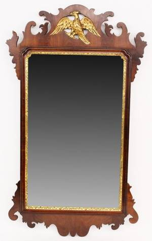 Early 19th C English Mahogany Chippendale Style Mirror