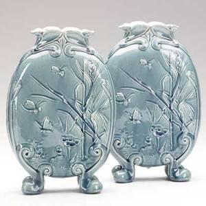 Chelsea keramic art works pair of pillow vases insects and fauna stamped chelsea keramic art works robertson  sons 10 34 x 7