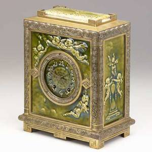 J  jg low new haven clock co rare mantel clock with putti green majolica glazed tile bronze tiles stamped 12 x 10 x 5 34