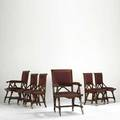 Kimbel  cabus attr assembled set of six dining chairs walnut cotton upholstery casters unsigned armchairs 40 x 23 x 22