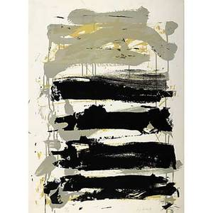 Joan mitchell american 19251992 two works of art champs gray black and yellow 1991 lithograph in colors framed signed and numbered 116125 30 18 x 22 14 sheet champs gray black