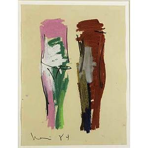 Manuel neri american b 1930 andrea no 19 1984 oil paint stick and pencil on paper framed signed and dated 17 x 12 12 sheet provenance john berggruen gallery san francisco label on