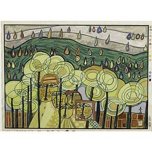 Friedensreich hundertwasser (austrian, 1928-2000); the rain falls far from us (from midori no namida), 1975; woodcut in colors (framed); signed, ...