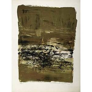 Zao wouki chinese b 1921 three works of art untitled 1968 etching and aquatint in colors framed signed dated and numbered 6095 15 58 x 29 image 17 x 30 14 sight untitled li