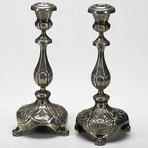 Russian silver candlesticks baluster form with floral decorated bases and three stylized claw feet in 875 silver marked moscow 1880 194 ot 5 x 10 34
