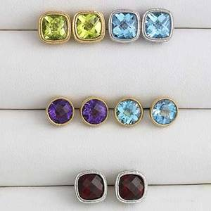 Five pairs gemstone stud earrings garnet blue topaz peridot amethyst all in 14k wg or yg 106 gs gw largest 7mm
