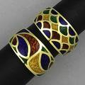 Two gold and enamel rings multicolored guilloche enamel in bands of 18k yg 146 gs gw size 6 12