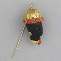 Gold onyx and coral blackamoor stick pin 18k yg 115 gs gw 1 38 x 78