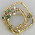 Emerald and pearl modernist brooch 18k ca 1960 161 gs gw approx 1 12 square