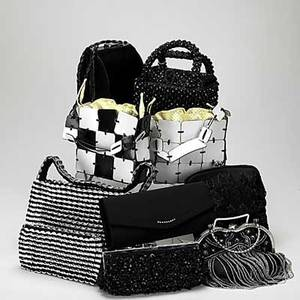 Nine handbags or evening bags two charles jourdan paris leather patchwork bags in white and black with dust bags 6 12 x 6 12 x 2 escama brazil fliptop bag and purse 6 12 x 10 x 2 and