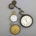 Pocket watches and a fob three pocket watches elgin national 18 size 4753142 sterling open case with gold inlaid locomotive silver fob with locomotive 1622 gs gw 55mm goldfilled zenith 17