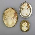 Gold and shell cameo brooches ca 18901960 three brooches largest 14k yg medium 10k wg smallest 10k yg 361 gs gw largest 2 78 x 2 12
