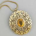 Gold filigree citrine pendantbrooch strung seed pearls bordering citrine in 14k yg on foxtail link chain in 18k yg 18 gs gw citrine 12mm x 10mm chain 24 pendant 1 38 x 1 12