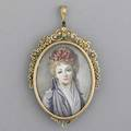 Pendantbrooch portrait of a lady portrait miniature on celluloid surrounded by 14k yg floral motif ca 1950 painting signed dupre 179 gs gw 2 12 x 1 58