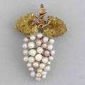 Gold and river pearl grape broochpendant texturized grape leaves in 18k yg with multicolored natural river pearls ca 1900 65 gs gw 1 12 x 1