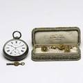 Jewelry and accessories tricolor gold and diamond aesthetic movement suite floral form brooch two stickpins in 9k jw benson ludgate pocket watch model kwkw sn 39815 liberty  co silk box