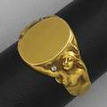 Sculpted vacant signet ring nude female figures with diamond accents in matte 10k yg 41 gs gw size 9 12