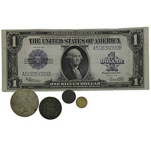 American coins and currency includes 1857 100 gold coin 1860 12 dollar approx 2400 face silver coins approx 800 wheat pennies and a 1923 100 silver certificate