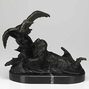 After marcel debut french 18651933 bronze of a hunting dog pursuing a goose on marble base 20th c signed 13 12 x 7 x 11 12