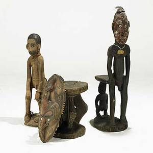 Oceanic orators chair standing male ancestral figure carved mask and stool new guinea 20th c largest 18 x 13 x 14
