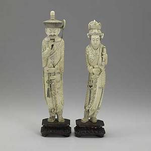 Pair of chinese ivory figurines male and female holding swords 20th c ivory 12 on 1 12 base