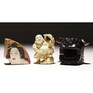 Japanese netuske wood shishi with articulated jaws and ears ivory hotei and ivory fanshaped box with geisha on cover 20th c largest 58 x 2