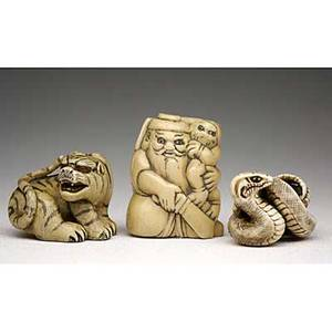 Japanese ivory netsuke growling tiger shoki holding an oni and a sword and tightly coiled snake 19th20th c tiger signed meizan tallest 1 34