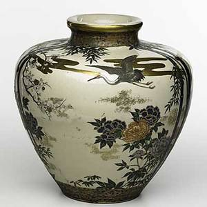 Japanese satsuma vase bulbous form with bird and floral displays 19th c signed 14