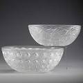 Lalique nemours and pinsons bowls 20th c both marked lalique france larger 10 dia
