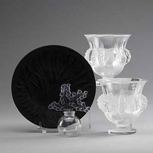 Lalique four pieces 20th c pair of dampierre vases clairefontaine perfume with lily of the valley stopper in original box and amethyst tree of life plate all marked lalique france tallest