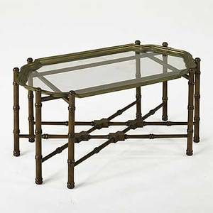 Traytop coffee table bamboo style turned base with brass and glass tray top 20th c 18 12 x 38 x 21