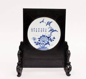 Chinese Blue  White Porcelain Plate in Stand