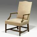 Georgian upholstered lolling chair mahogany frame early 19th c 41 x 22 12 x 30