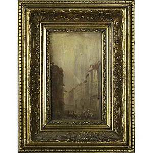 Pair of 19th c european landscapes oil on panel of town scenes framed each 9 12 x 6 12