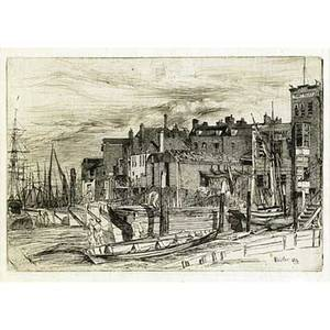 James abbott mcneil whistler american 18341903 etching thames police wapping wharf 1859 framed signed and dated in the plate 6 58 x 9 38 sight